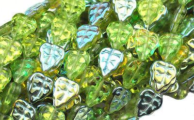 10 OLIVINE AB CZECH GLASS LEAF BEADS 10MM Ab Leaf Czech Glass Beads