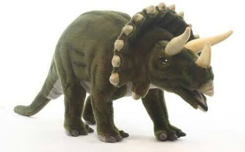 "NWT Hansa Life Like Handmade Stuffed Animal Plush Triceratops Dinosaur 29"""