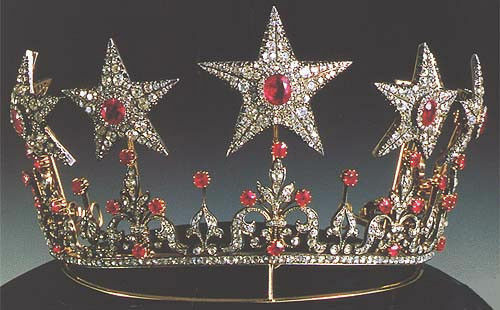 Victorian 11.30 Ctw Rose Cut Diamond & Center Ruby Sterling Silver Weeding Tiara