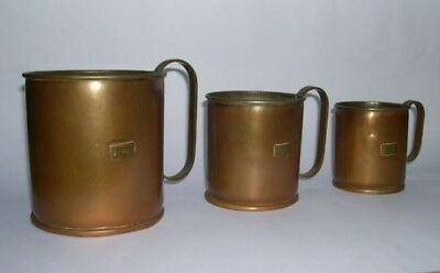 3 Copper Measuring Tankards, Brass Handles, Tinned Interiors - ½, 1 & 2 Pints