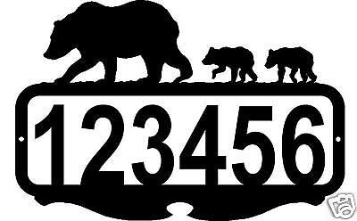 Custom Address Sign Personalized Name Bear Metal Art Rustic Lodge Cabin Decor