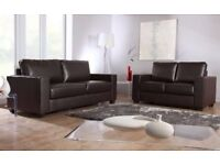- 14 DAYS MONEY BACK - LEATHER 3+2 SOFA SET - 2 COLOURS IN STOCK - BLACK / BROWN - SAME DAY DELIVERY