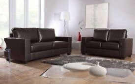 - 14 DAYS MONEY BACK GUARANTY / LEATHER COMPLETE 3+2 SOFA SET - BLACK & BROWN / SAME DAY DELIVERY -