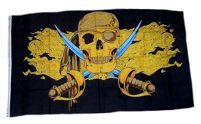 Flagge / Fahne Pirat Gold Säbel Hissflagge 90 x 150 cm