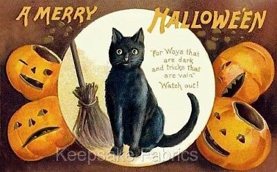 Merry Halloween Black Cat Pumpkins Quilt Block Multi Sz FrEE ShiPPinG WoRld WiDE - Merry Halloween