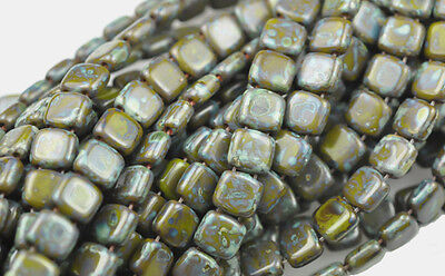 50 Olive Picasso 2 Hole Czech Glass Flat Square Beads 6MM