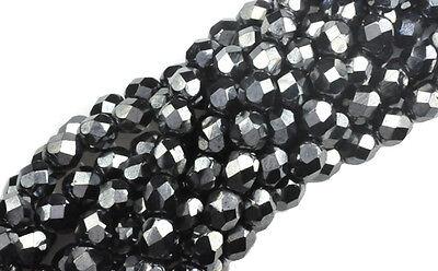 50 Gunmetal Glass Round Loose Beads 6MM