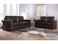 * - Leather 3+2 SOFA SET *- COMPLETE SET - BROWN / BLACK - COLOURS IN STOCK - 14 DAYS CASH BACK - **