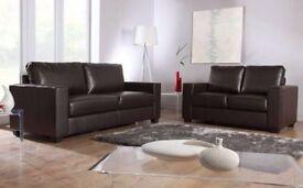 - Italian Leather 3+2 Sofa Set - 2 Colours In Stock - BLACK / BROWN - 14 DAYS MONEY BACK GUARANTEE /