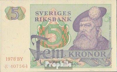 Schweden Pick-Nr: 51d (1978) bankfrisch 1978 5 Kronor