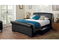 King Size Faux Brown Leather Bed