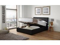 Double Faux Leather Ottoman Storage Bed Frame - Black