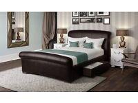 Santino black faux leather kingsize bed