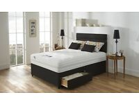 DOUBLE DIVAN BED WITH 1000 POCKET SPRUNG MATTRESS IN WHITE & BLACK SINGLE & KINGSIZE BED AVAILABLE
