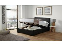 BENSONS Faux Leather Ottoman Bed with luxury mattress