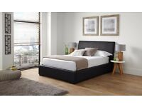 Ottoman Storage Double Bed Black with mattress