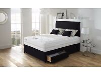 "3FT 4FT6 Double or 4FT Small Double 5FT KINGSIZE Divan Bed W/ Dual-Sided 9"" Deep Quilt Mattress"