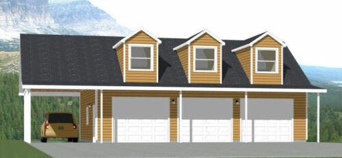40x30 3-Car Garage with Carport -- 1,894 sqft -- PDF Floor Plan -- Model 10A