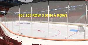 **FIRE SALE**$99 ROW 3 LOWERBOWL** VANCOUVER CANUCKS TICKETS