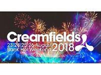 Creamfields 2018 - Bronze 4 Day Camping ticket.