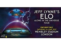 Jeff Lynnes ELO WEMBLEY FRONT BLOCK A1 BELOW FACE VALUE TICKETS