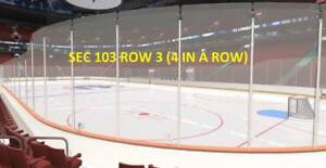 **4 IN A ROW***ROW 3 LOWERBOWL** VANCOUVER CANUCKS TICKETS