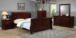 8 PCS SLEIGHT BED BEDROOM SET SOLID WOOD-BRAND NEW FREE DELIVERY