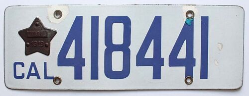 California 1919 Porcelain License Plate with Original Star 418441, Antique, Sign