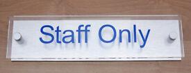 'Staff Only' Office Door Sign Plaque