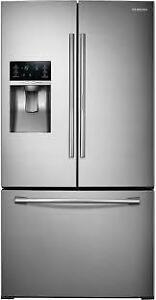 RéfrigérateurSAMSUNG 36 po, 28 pi³ , Distributeur deau et de glaçons, Couleur Acier Inox, (SKU : 1045), RF28HDEDBSR