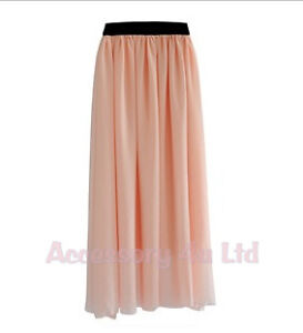 NEW WOMEN LADIES ELASTIC WAIST BAND PLEATED CHIFFON LONG MAXI SKIRT -- UK Seller