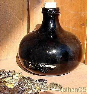 17th Century Handblown Onion Bottle Pirate Grog Bottle Replica