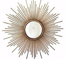 Sunburst Mirror in Antique Gold