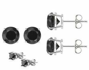 Sterling Silver Stud Earrings in 2 Carat Black Diamond manmade by CWEB Jewelry