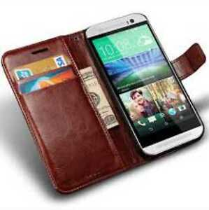 Two HTC One Flip Wallet Leather Cases