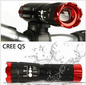 Red Bike Bicycle Head Front Light CREE Q5 LED Flashlight 240 Lumen Torch + Clip