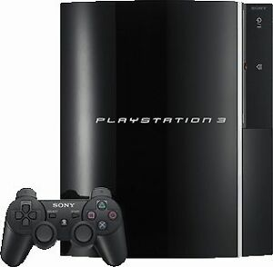 Playstation 3 with games headphones and two controllers.