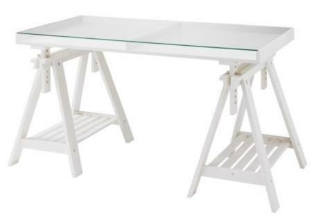 Ikea trestle table glass top 140x70cm good condition computer office desk adjustable in - Glass office desk ikea ...