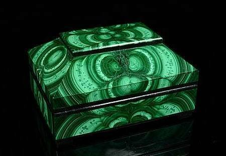 Casket made of natural stone from malachite 11