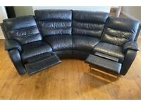 BLACK REAL LEATHER RECLINER CURVE CORNER SOFA