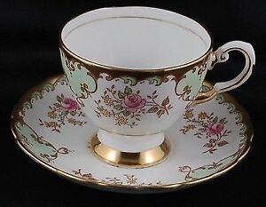 Coalport Pink Roses, & Mini Yellow Sprays Lavish Gold Teacup Set