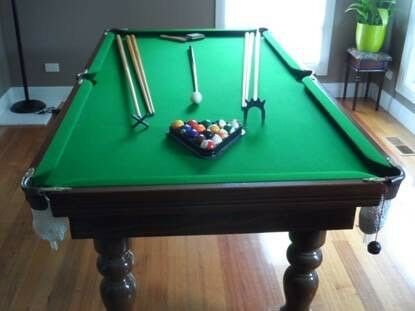 Billiards Table w/ Accessories Wood Frame For Sale