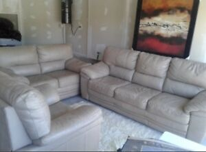 100% Canadian Leather Couches Set