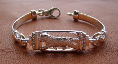 Sterling Silver Bearded Collie Moving Study Bracelet