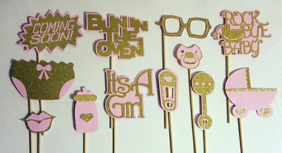 Photo Booth Ideas (Pink and Gold Baby Shower Photo Booth Props. Great gift)