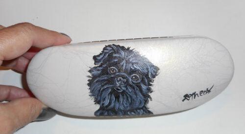Affenpinscher Dog Hand Painted Eyeglass Glasses Hard White Case Vegan