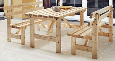 Bierzelt Garnitur Holz massiv Sitzgruppe Garten Tisch Bank Gartenmöbel Set Bänke
