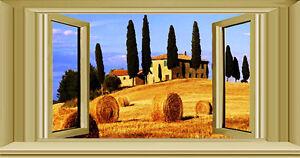 Wall stickers trompe l 39 oeil tramonto finestra toscana campagna sunset ebay - Trompe l oeil finestra ...