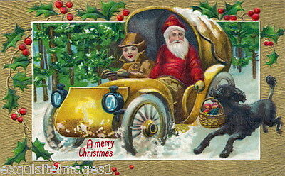 1908 Christmas Art~Santa Claus Drives Car~Black Poodle Dog~NEW Large Note Cards