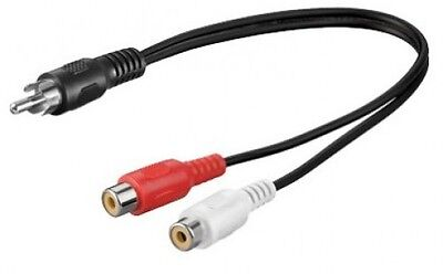 goobay car hifi Y cinch verteiler adapter audio splitter kabel stecker an 2x bu.